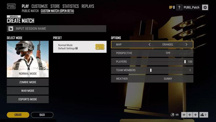 Create Match - Esports Mode