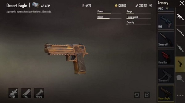 How to fire a Desert Eagle in PUBG Mobile game 2