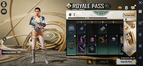 The rewards that players can get at RP levels 1-10.